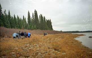 Innu visiting the old camp at Ushkan-shipiss where the last